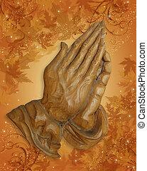 ação graças, orando, mãos