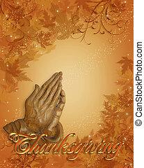 ação graças, borda, orando, mãos