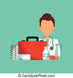 medical doctor icon - first aid kit and medical doctor...