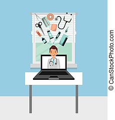 medical doctor icon - computer with medical doctor on screen...