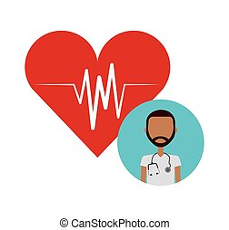 medical doctor icon - cardio heart and medical doctor...