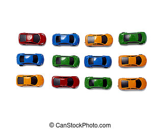 toy cars traffic transportation - toy cars in a row isolated...