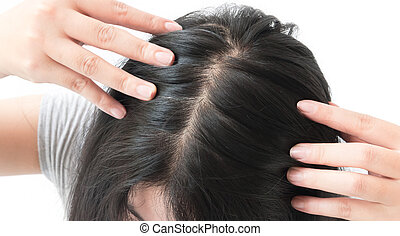 Woman serious hair loss problem for health care shampoo and...