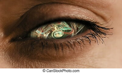 Eye zoom into iris with abstract neural dust - Eye zoom in...