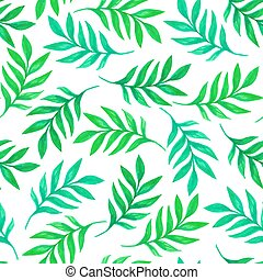 Floral seamless pattern with green leaves and branches on...