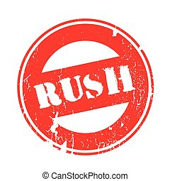 Rush rubber stamp. Grunge design with dust scratches....