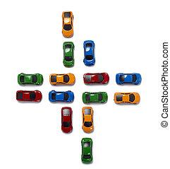 brinquedo, carros, tráfego, transporte