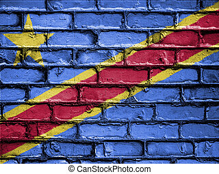 National Flag of Democratic Republic of The Congo on a Brick...