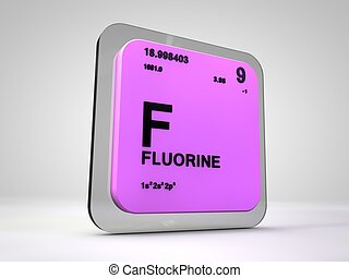 Fluorine - F - chemical element periodic table 3d render