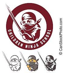 Children ninja school cartoon emblem vector illustration....