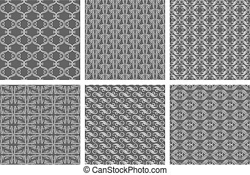 Swirly wallpaper textures. Vector flourish patterns, carpet backgrounds