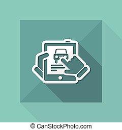Car website on tablet