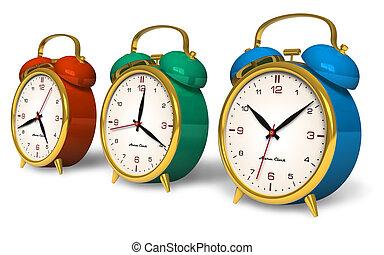 Color vintage alarm clocks