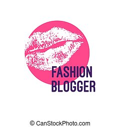 Logo fashion blogger. Imprint of red lips. Icon glamorous...