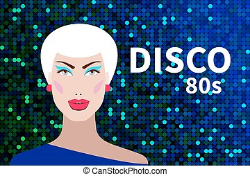 Flyer night club party in style of 80s with beautiful...