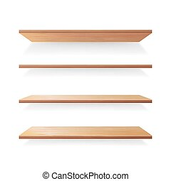 Empty Wood Shelves Template Vector Set. Isolated On White Background With Shadow