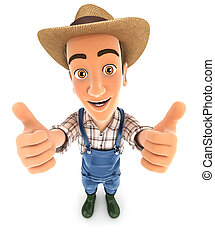 3d farmer thumbs up, illustration with isolated white...