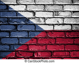 National Flag of Czechia on a Brick Wall - National flag of...