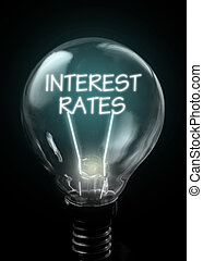Interest rates lit up inside a light bulb