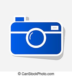 Digital photo camera sign. Vector. New year bluish icon with...