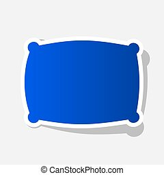Pillow sign illustration. Vector. New year bluish icon with...