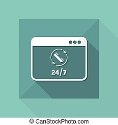 Computer - Full time contact assistance 24/7 - Vector flat...