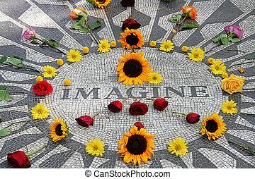 Imagine mosaic, full of flowers, in Central Park - Imagine...