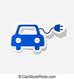 Eco electric car sign. Vector. New year bluish icon with...