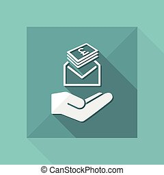 Give envelope with stering banknotes - Minimal icon