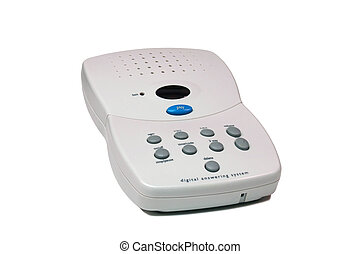 Answering machine over white background