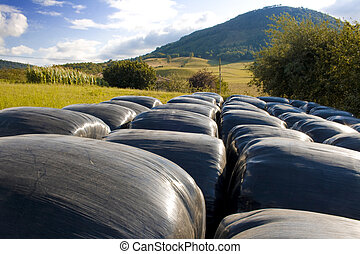 Hay balls in black plastic cover wrap bales stacked outdoor, for feeding animals in farms