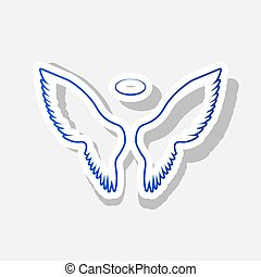 Wings sign illustration. Vector. New year bluish icon with...
