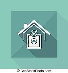 Strongbox service - Check security -  Vector web icon