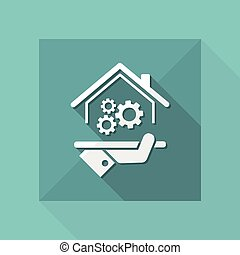 Home working system - Vector web icon