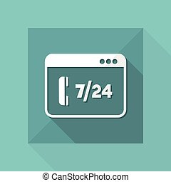 Full time 7/24 call center application - Vector flat icon