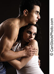 Young Couple Holding each other - Foreplay, young couple...