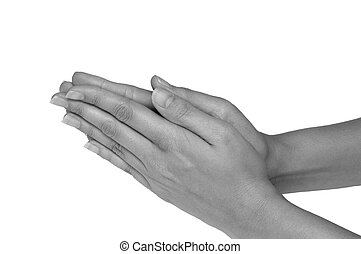 Female hands praying over white background