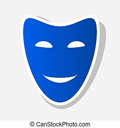 Comedy theatrical masks. Vector. New year bluish icon with outside stroke and gray shadow on light gray background.