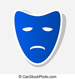 Tragedy theatrical masks. Vector. New year bluish icon with outside stroke and gray shadow on light gray background.