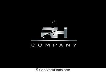 rh r h silver grey metal metallic alphabet letter logo icon...