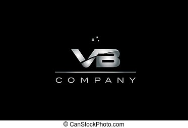 vb v b silver grey metal metallic alphabet letter logo icon...