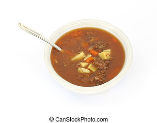 Beef pot roast soup - Bowl of beef pot roast soup with spoon...