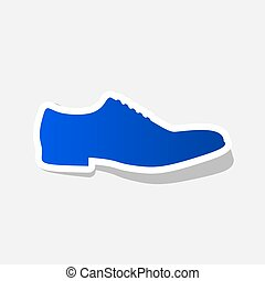 Men Shoes sign. Vector. New year bluish icon with outside...