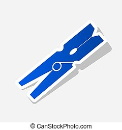 Clothes peg sign. Vector. New year bluish icon with outside...
