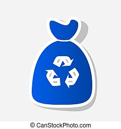 Trash bag icon. Vector. New year bluish icon with outside...