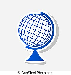 Earth Globe sign. Vector. New year bluish icon with outside...