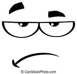 Black And White Grumpy Cartoon Funny Face With Sadness Expression