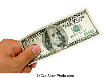Hundred Dollar Bill - Male hand holding 100 Dollar bill -...