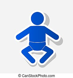 Baby sign illustration. Vector. New year bluish icon with...