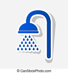 Shower sign. Vector. New year bluish icon with outside...